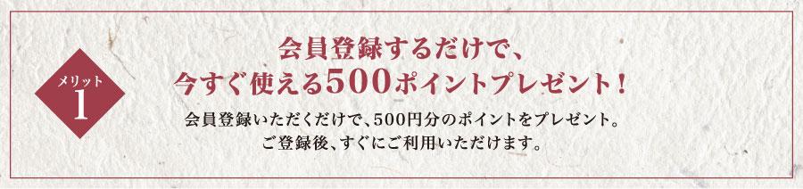 会員登録するだけで今すぐ使える500ポイントプレゼント